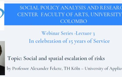 Webinar Series -Lecture 3 on Social and spatial Escalation of Risks – 11th June