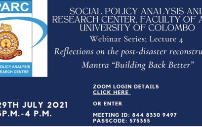 """Webinar Series -Lecture 4 on 'Reflections on the post-disaster reconstruction Mantra """"Building Back Better""""- 29th July"""