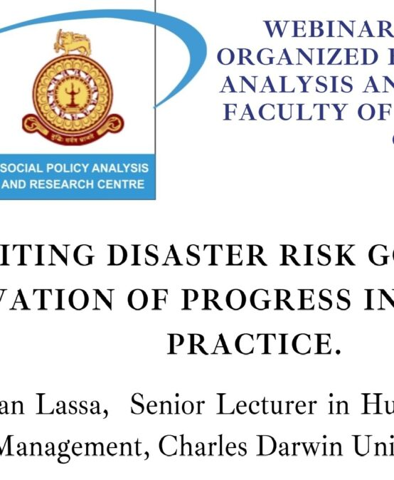 """Webinar Series -Lecture 5 on """"Revisiting Disaster Risk Governance"""" – 06th Aug."""